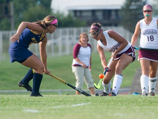 Greencastle's Lauren Cole marks up to Shippensburg's