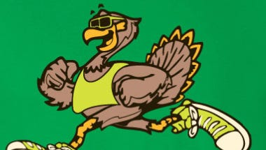 The design for this year's Turkey Trot T-shirt.