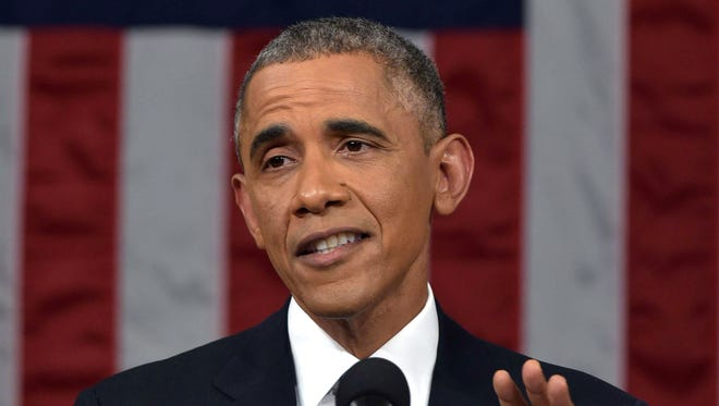 In this Jan. 20, 2015, President Obama delivers his State of the Union address to a joint session of Congress.