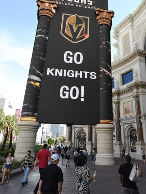 "A sign outside The Forum Shops at Caesars displays a message with the Vegas Golden Knights chant ""Go Knights Go!"" the day after the team won the Western Conference Finals during the 2018 NHL Stanley Cup Playoffs on May 21, 2018 in Las Vegas, Nevada."
