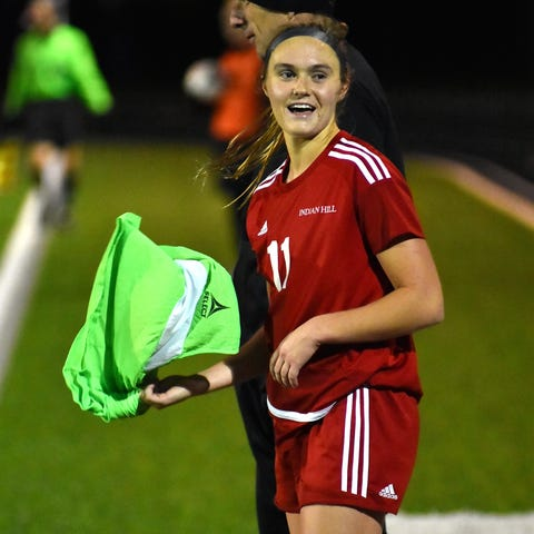 Anna Podojil grabs a towel and looks to celebrate...