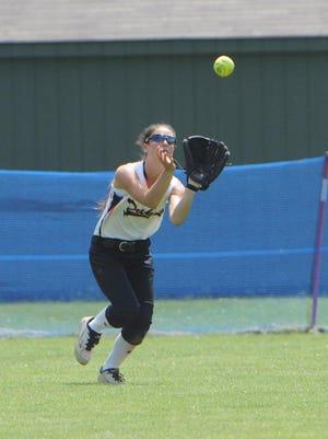 Marlboro High School's Melissa Sadler catches a fly ball during a Class B regional semifinal versus Rye Neck at Rhinebeck High School last year