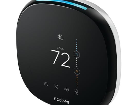 Smart thermostats, like this ecobee4, can automatically