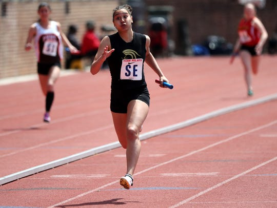 Tiffany Bautista of Paramus Catholic won four events at the North Non-Public A state sectional track meet: the 100 (12.64), high jump 5-4; the long jump (17-8); and the triple jump (39-0).