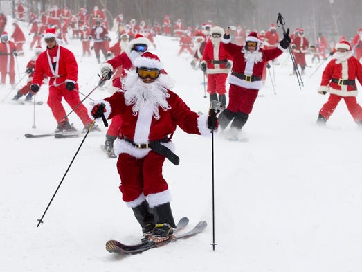 Every year, the Sunday River Resort in Newry, Maine, offers free lift tickets to the first 250 guests to arrive in Santa costume.