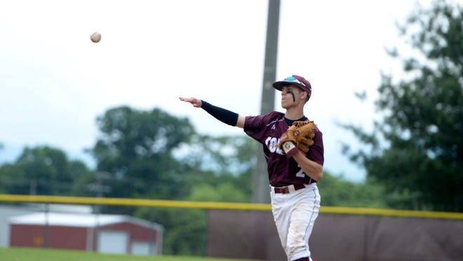 Stuarts Draft second-baseman Aric Gutt throws out a Madison County runner Monday in Region 2B baseball play.