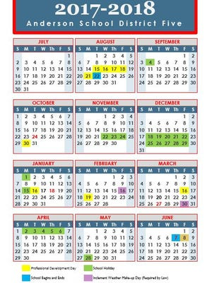 The 2017-18 school calendar for all five Anderson school districts.
