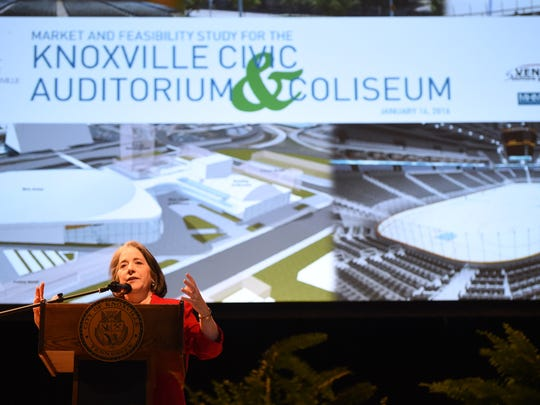 Knoxville mayor Madeline Rogero welcomes attendees to a public meeting discussing the findings of a feasibility study at the Knoxville Civic Auditorium on Thursday, Jan. 14, 2016. City officials and consultants presented the study and invited public comments on its options, ranging from $26 million to $279.5 million for maintenance or redevelopment scenarios for the Knoxville Civic Auditorium and Coliseum (KCAC).