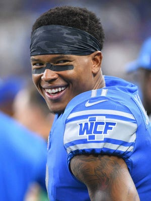 Lions receiver Marvin Jones on the sidelines during the third quarter against the Jets at Ford Field, Aug. 19, 2017.