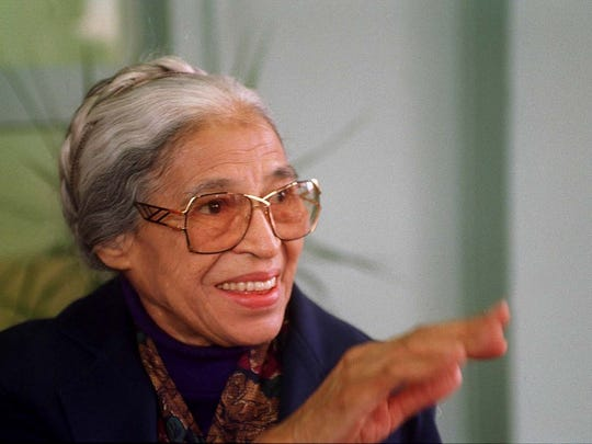 Rosa Parks at a press conference. Businessman Charles Costa is donating land for a Rosa Parks Park on Grand River in Detroit.