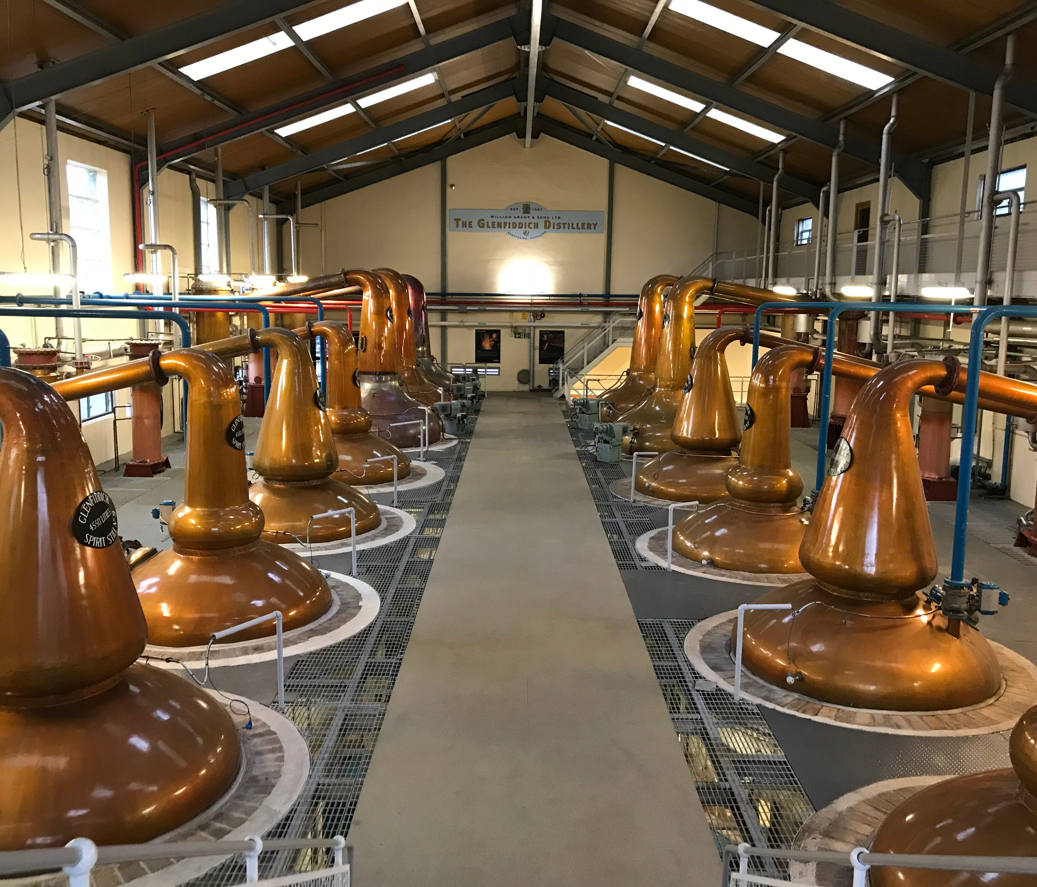There are two still houses at Glenfiddich with a total of 30 pot stills. These include wash stills for the first distillation, and spirit stills for the second distillation.