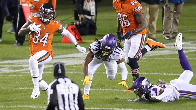 Chicago Bears returner Cordarrelle Patterson (84) returns a kickoff 104 yards for a touchdown to open the third quarter against the Minnesota Vikings on Monday, Nov. 16, 2020 at Soldier Field in Chicago.