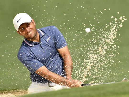 Apr 12, 2019; Augusta, GA, USA; Francesco Molinari hits out of a bunker on the 2nd hole during the second round of The Masters golf tournament at Augusta National Golf Club. Mandatory Credit: Michael Madrid-USA TODAY Sports