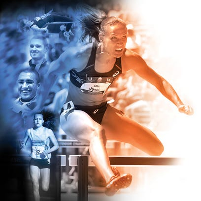 Illustration of Drake Relays participants by Mark Marturello.