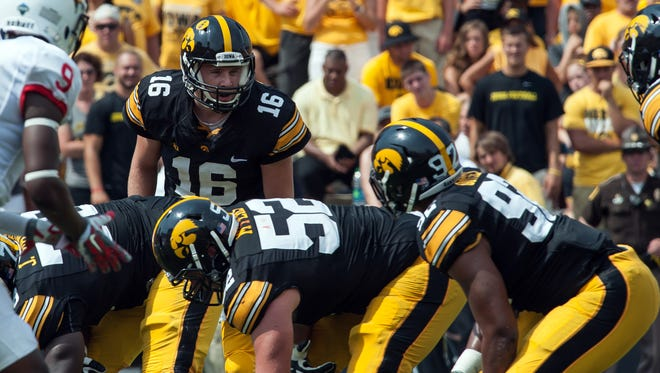 Against Illinois State on Saturday, offensive lineman Boone Myers (52) was part of a unit that didn't allow a sack and opened a hole for 210 team rushing yards in a 31-14 win at Kinnick stadium.
