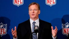 FILE - In this May 23, 2018, file photo, NFL commissioner Roger Goodell gestures while speaking during the NFL owner's spring meeting in Atlanta. A federal judge in Philadelphia heard arguments Wednesday, May 30, 2018, in the NFL's request for a special investigator to look into what the league says are fraudulent claims in a $1 billion concussion settlement. (AP Photo/John Bazemore, File)