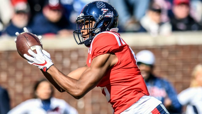 Receiver DaMarkus Lodge (5) finally earned a starting spot and caught seven touchdown passes on his way to nearly 700 receiving yards.
