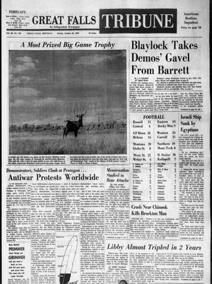 Front page of the Great Falls Tribune on Sunday, Oct. 22, 1967.