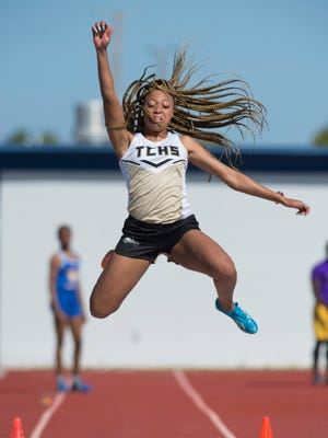 Treasure Coast's Oksana Salaam competes in the long jump Thursday, March 22, 2018, during the St. Lucie County Track and Field Championships at Lawnwood Stadium in Fort Pierce. To see more photos, go to TCPalm.com.