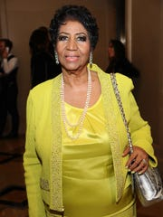 Aretha Franklin seen at her 72nd birthday celebration at The Ritz-Carlton Hotel on March 22, 2014, in New York City.