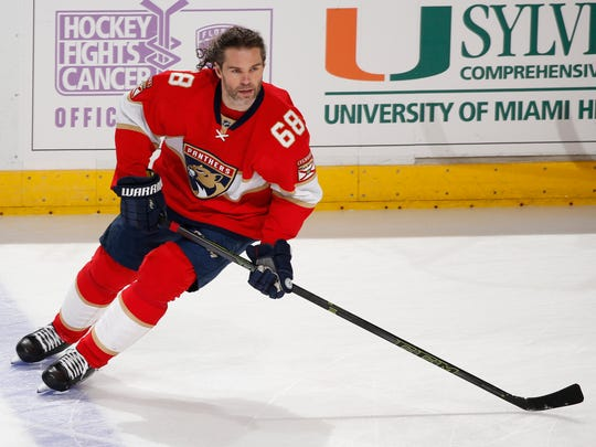 Panthers right wing Jaromir Jagr, who turns 45 next