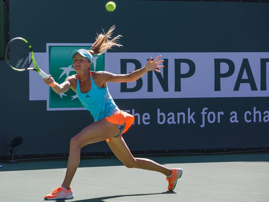 Daniela Hantuchova loses to Mandy Minella in a qualifying round at the BNP Paribas Open, Monday, March 6, 2017.
