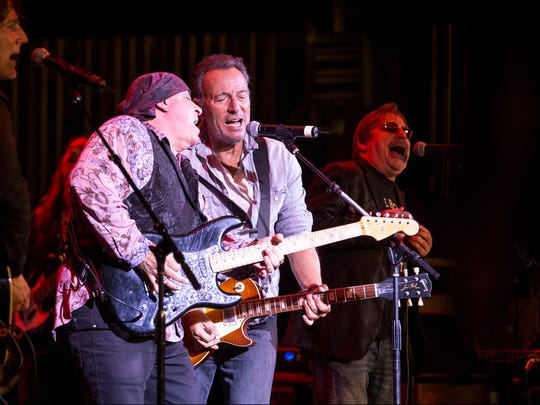 Stevie Van Zandt and Bruce Springsteen share a mic and Southside Johnny sings at the Upstage Jam, Friday, April 21, 2017 at the Asbury Park Music and Film Festival at the  city's Paramount Theatre.