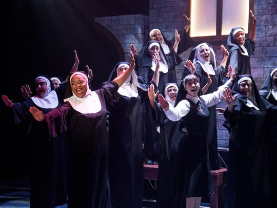 "Elizabeth Adabale, front left, as Deloris Van Cartier and company star in ""Sister Act,"" on stage through Feb. 18 at the Simi Valley Cultural Arts Center."