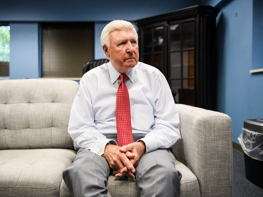 Interim Greenville County Sheriff Johnny Mack Brown speaks about taking over the office in the midst of suspended Sheriff Will Lewis' indictment on Wednesday, April 18, 2018.