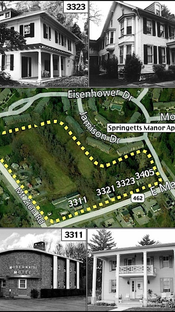 Bird's Eye View of Northeast Corner of East Market Street and Mt. Zion Road in Springettsbury Township; showing buildings along Market Street (Bing.com Bird's Eye View and 1990s Photos of Properties in Springettsbury Township Historic Preservation Files)