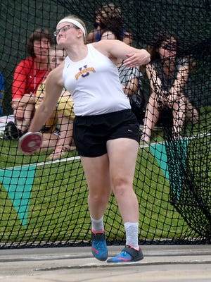 Unioto Shermans' Autumn Mohan competes in the discus during the state track and field tournament on Friday, June 1, 2018 at Jessie Owens Memorial Stadium.