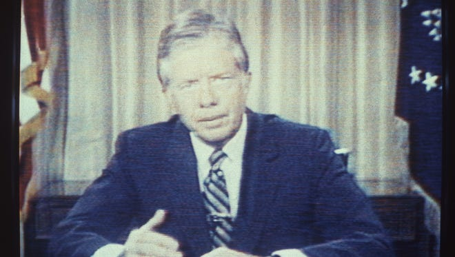 """In an image taken off television, U.S. President Jimmy Carter delivers his energy speech in which he spoke of a """"crisis of confidence"""" on July 15, 1979. The speech was referred to by some as his """"malaise speech,"""" although he never used that word during it."""
