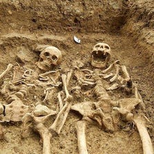 A skeleton couple was uncovered in an England 14th-century burial site holding hands after 700 years