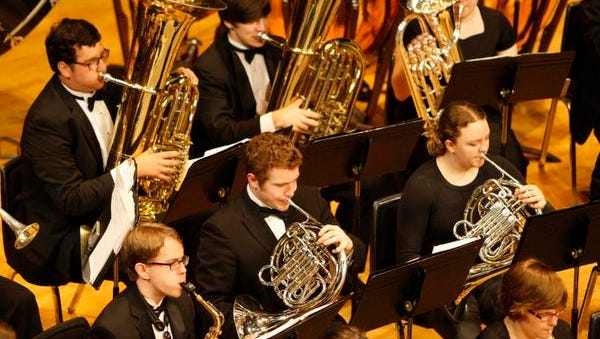 The Sprague Wind Ensemble performs during the OSAA 6A band championships, in the LaSells Stewart Center, on Saturday, May 17, 2014.