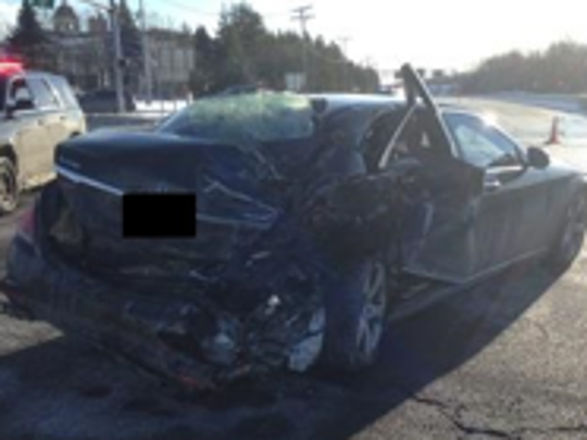 The 2014 Mercedez-Benz that Vincent Petrucelli, 24, of Wall, collided with Jan. 8, 2017 on Route 34 after reportedly driving intoxicated.