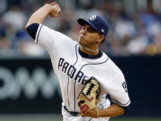 San Diego Padres starting pitcher Dinelson Lamet throws to the plate during the first inning of a baseball game against the Chicago Cubs in San Diego, Tuesday, May 30, 2017. (AP Photo/Alex Gallardo)