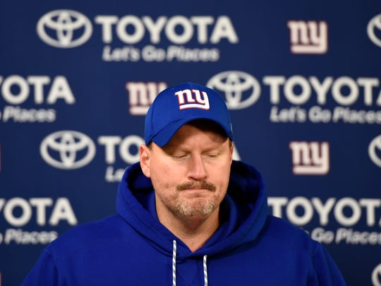 New York Giants head coach Ben McAdoo during a press conference after the game. The Green Bay Packers defeated the New York Giants 38-13 in the NFC Wild Card playoff game at Lambeau Field in Green Bay, WI on Sunday, January 8, 2017.