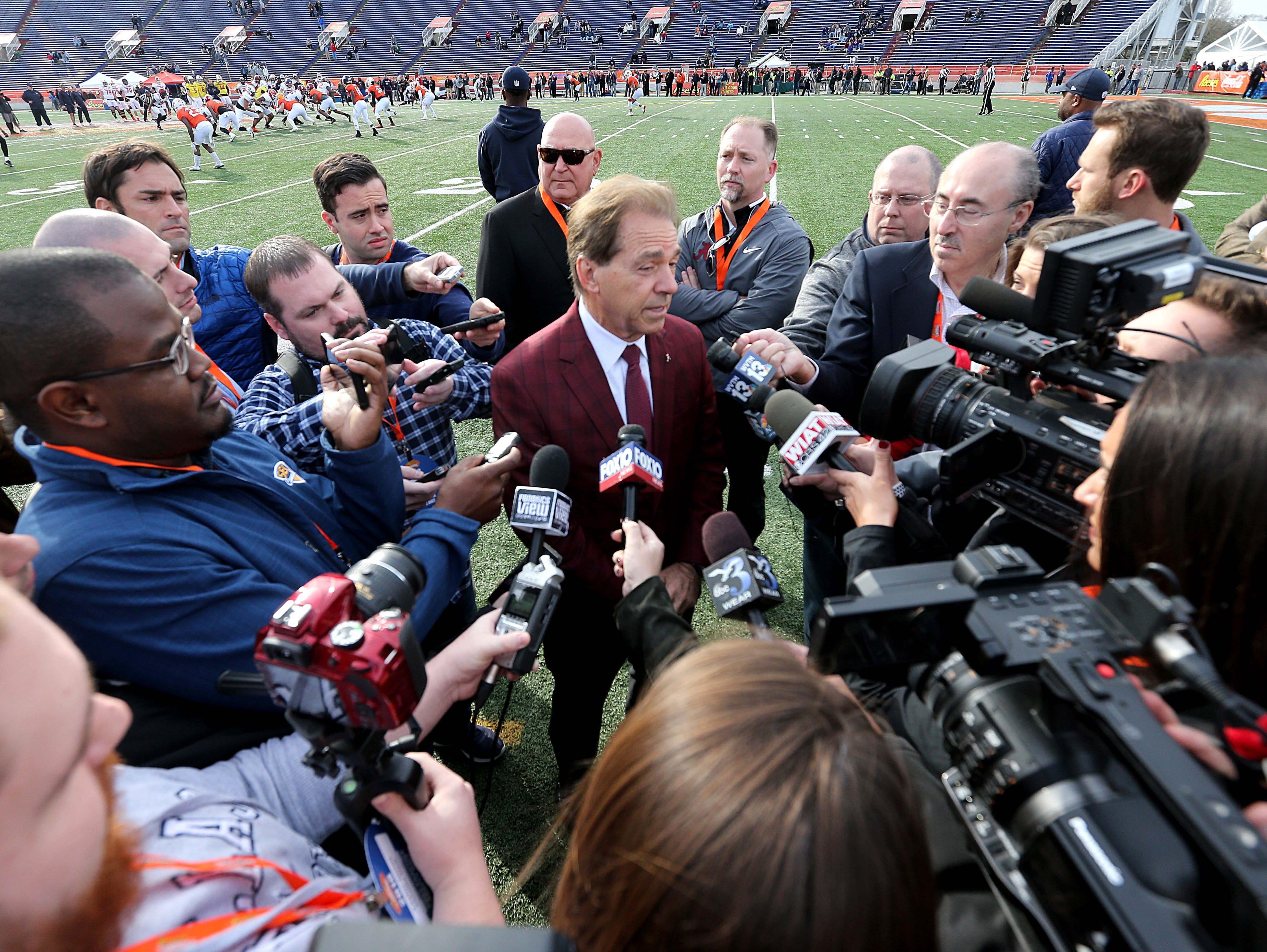 Jan 24, 2018; Mobile, AL, USA; Alabama Crimson Tide head coach Nick Saban talks to the media during Senior Bowl practice at Ladd-Peebles Stadium. Mandatory Credit: Chuck Cook-USA TODAY Sports