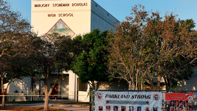 A general view of Marjory Stoneman Douglas High School as staff and teachers prepare for the return of students in Parkland, Fla.