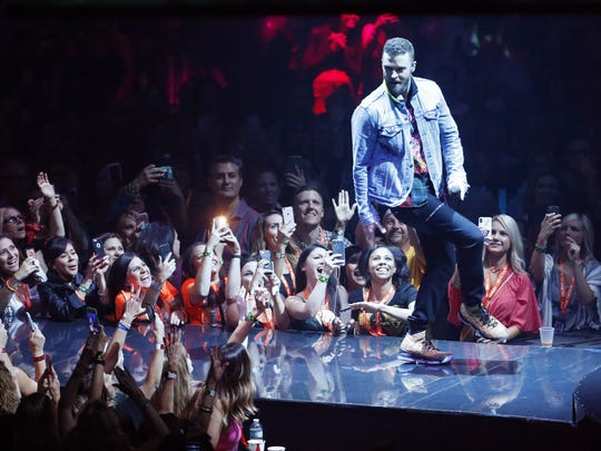 Justin Timberlake performs at Talking Stick Resort Arena during the Man of the Woods Tour in Phoenix, Ariz. May 2, 2018.