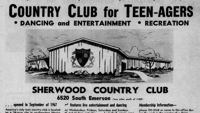 Indianapolis Star advertisement for the Sherwood Country Club in 1968