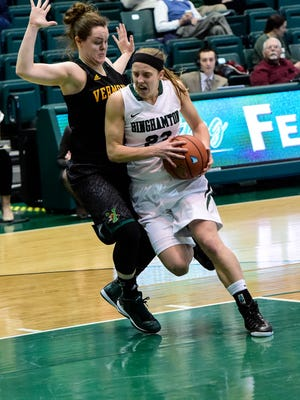 Binghamton University guard Kim Albrecht drives into the paint during a women's basketball game in the Events Center in January 2015.