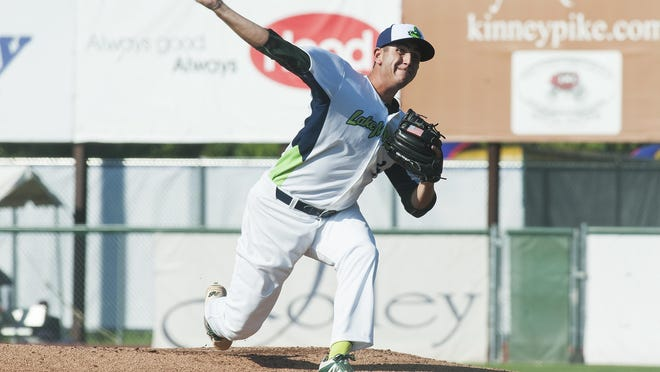Vermont starting pitcher Brendan Butler (4) delivers a pitch during the baseball game between the Connecticut Tigers and the Vermont Lake Monsters at Centennial Field on Sunday.