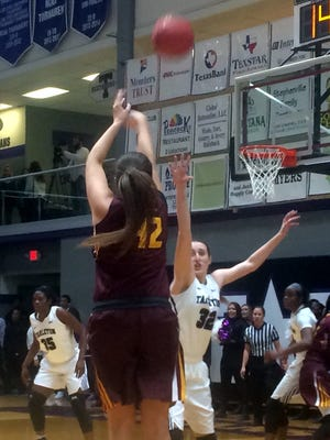 Whitney Taylor of MSU scored 22 points, including this 3-pointer, but the Mustangs fell to Tarleton State 72-58 in Stephenville Thursday.