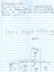 A letter to Santa Claus from Maddie Hines.