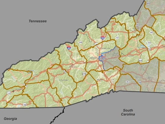 The 11th Congressional District runs from the Lenoir