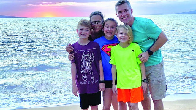 The Clarkson family enjoys the sunset in Maui earlier this week, where they flew for vacation after being kicked out of Ecuador, due to coronavirus travel restrictions in that country.