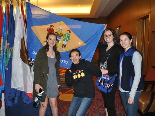 Wilmington Friends all-femaile JV team: From left, Lucy Knudsen, Cecilia Ergueta, Victoria Schroeder and Izze Rios.