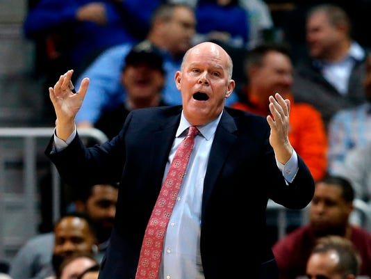 FILE - In this Jan. 31, 2018, file photo, Charlotte Hornets coach Steve Clifford reacts during the second half of the team's NBA basketball game against the Atlanta Hawks, in Atlanta. The Hornets have fired coach Steve Clifford after the team failed to reach the playoffs for the third time in the last four seasons. The move comes after a meeting with new general manager Mitch Kupchak on Friday, April 13, 2018.  (AP Photo/John Bazemore)