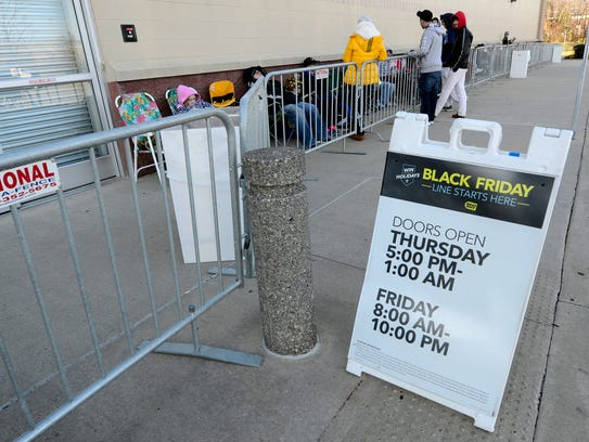 Shoppers line up hours before opening at Best Buy in